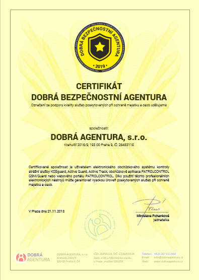 certifikát dobrá bezpečnostní agentura